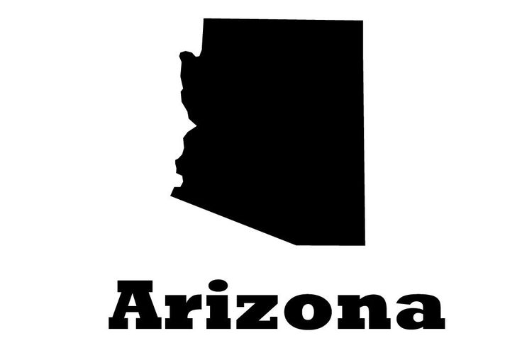 Arizona state vinyl wall decal map silhouette sticker decoration of grand canyon state phoenix capital marked with heart