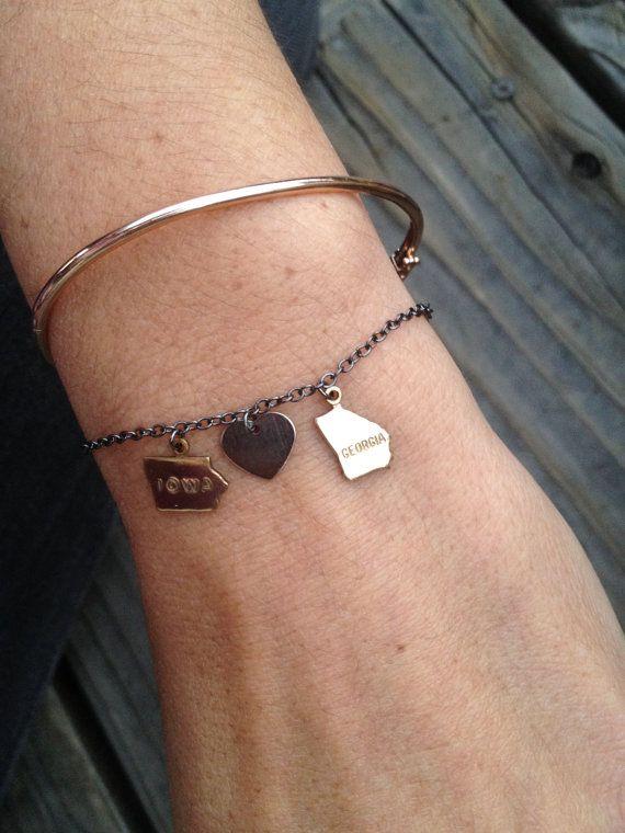 Long Distance State Bracelet long distance by LouiseRose on Etsy