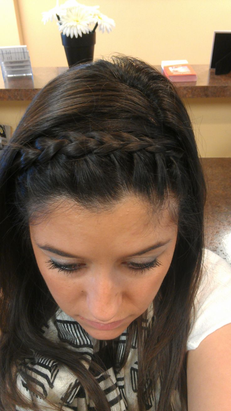 French braid headband going to do this w my bangs then have my hair down really curly for prom