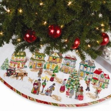 Christmas Village Embroidery Designs With FREE How To Sew A Simple Tree Skirt Guide