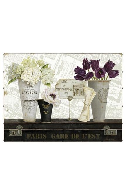 """Paris Gare de l'Est 30"""" x 40"""" Hand Embellished Canvas"""