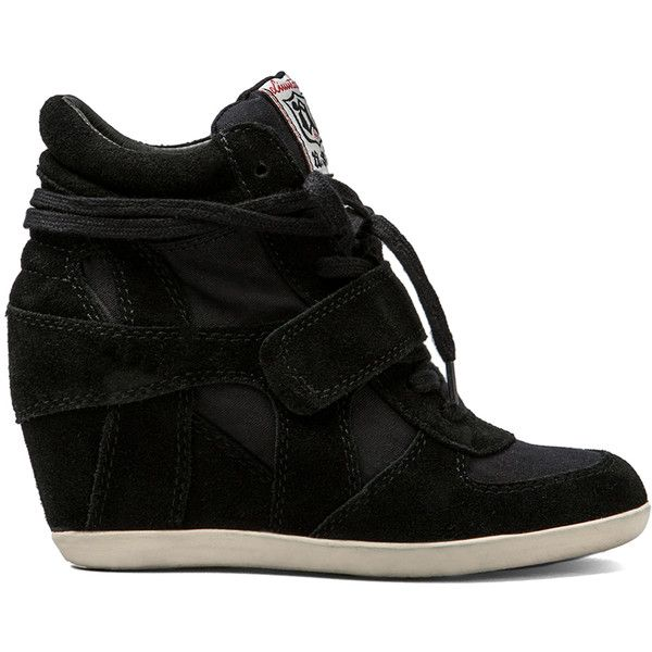Ash Bowie Wedge Sneaker ($195) ❤ liked on Polyvore featuring shoes, sneakers, heels, sapato, black, ash shoes, wedged sneakers, heel sneakers, lace up wedge sneakers and black high heel sneakers