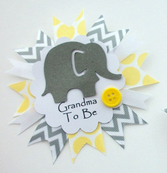 Grandma's Baby Shower Corsage Round Badge Pin by CrazyCraftFrog