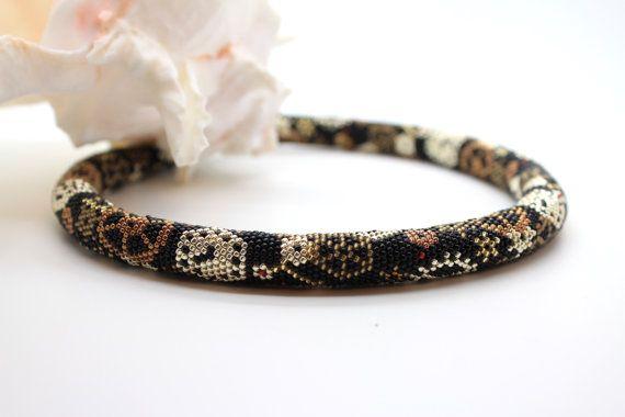 """Beaded Crochet collana corda - """"Tempo perso"""" Seed Bead Necklace, collana di istruzione, collana di perline, Bib Necklace, Steampunk, FO"""