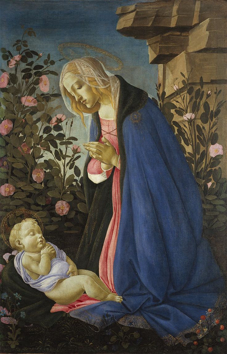 Botticelli c1485  The Virgin adoring the sleeping Christ child  tempera, oil and gold on canvas