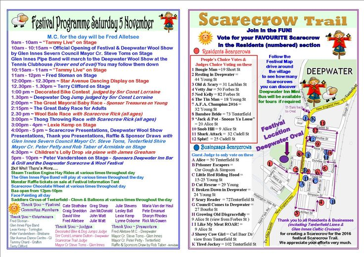 Our 2 fold programme middle pages - featuring our entertainment programme and our Scarecrow Trail around the village