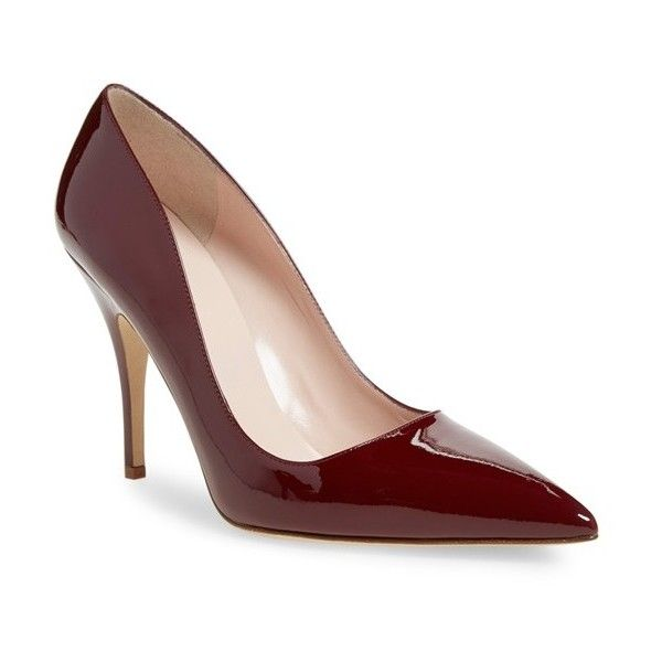 Women's Kate Spade New York 'Licorice Too' Pump (145 CAD) ❤ liked on Polyvore featuring shoes, pumps, kate spade, heels, red chestnut patent, patent pointed toe pumps, red patent shoes, patent leather pumps, pointed toe pumps and red heel pumps