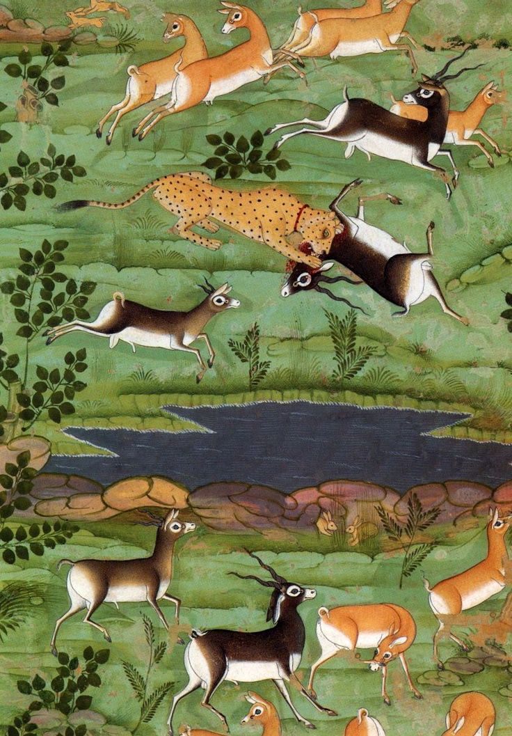 Shah Jahan Hunting Deer with Trained Cheetahs (detail), ca. 1710. Mughal.