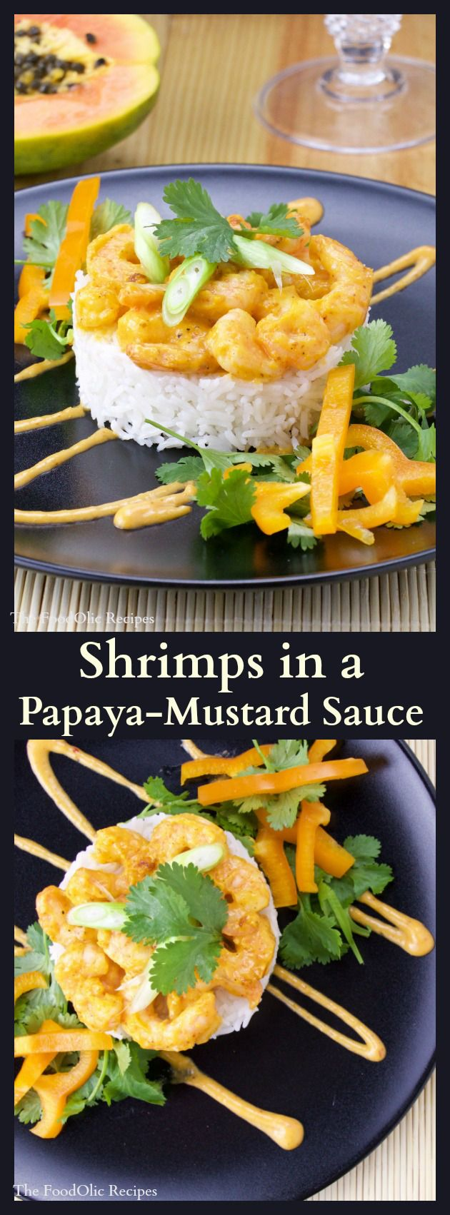 An unctuous orange sauce made out of papaya and white wine mustard covers the shrimps. Accompanied by a crunchy yellow bell pepper and cilantro leaves of asian/tropical influences. #seafood #mustard #papaya