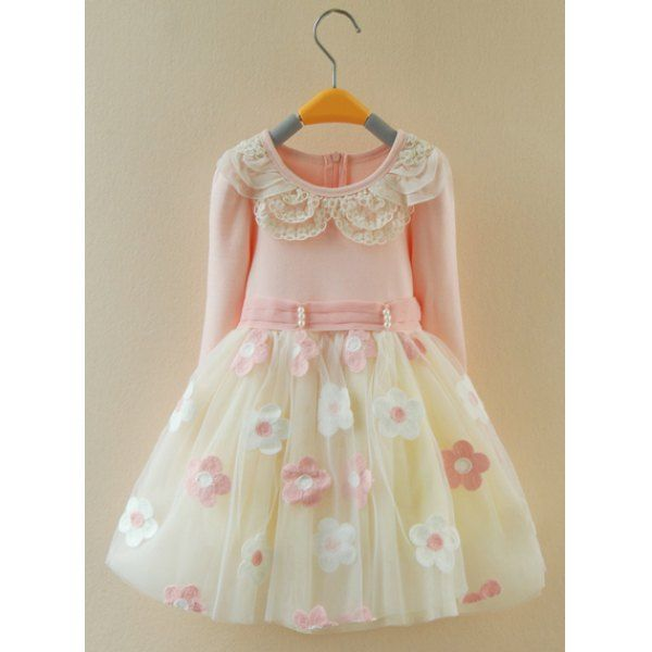 Cute Long Sleeve Beaded Flower Spliced Multilayered Ball Gown Dress For Girl