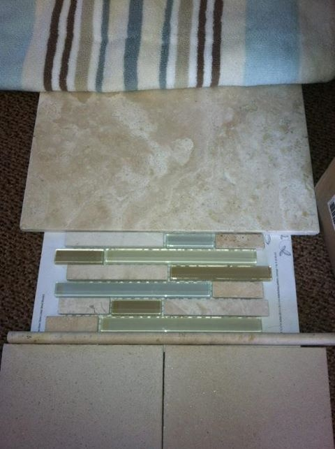 Towel travertine tile accent tile bathroom colors with for Travertine accent tile