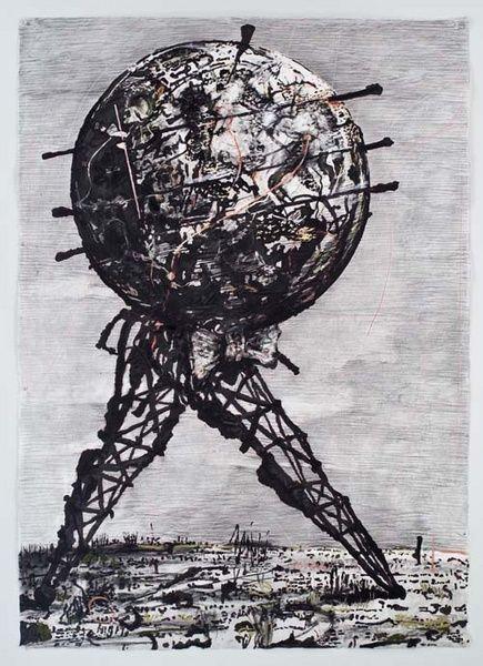 """'Desenho para II Sole 24 Ore (World Walking)' 2007; Light and Dark; """"Para Kentridge as qualidades físicas e metafísicas da luz, sombra e escuridão é uma maneira de pensar sobre o mundo e em como as perspetivas da memória são obtidas e perdidas na passagem do tempo."""""""