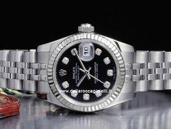 Rolex - Datejust Lady 179174 Cassa: acciaio - 26 mm Ghiera: oro bianco Vetro: zaffiro Quadrante: nero - con diamanti Bracciale: jubilee Chiusura: crownclasp Movimento: automatico