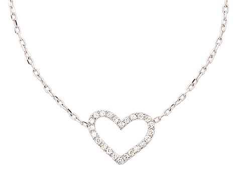 9ct white gold #diamond #heart pendant with twenty-four single cut #diamonds weighing a total of 0.06ct in claw settings on a 9ct white gold fine trace link chain. | #thomasjewellers