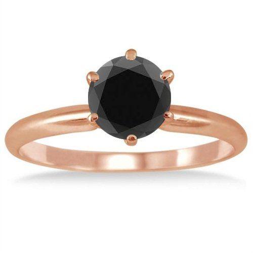 2.00CT Black Diamond Solitaire Engagement Ring 14K Rose Gold Pompeii3 Inc.