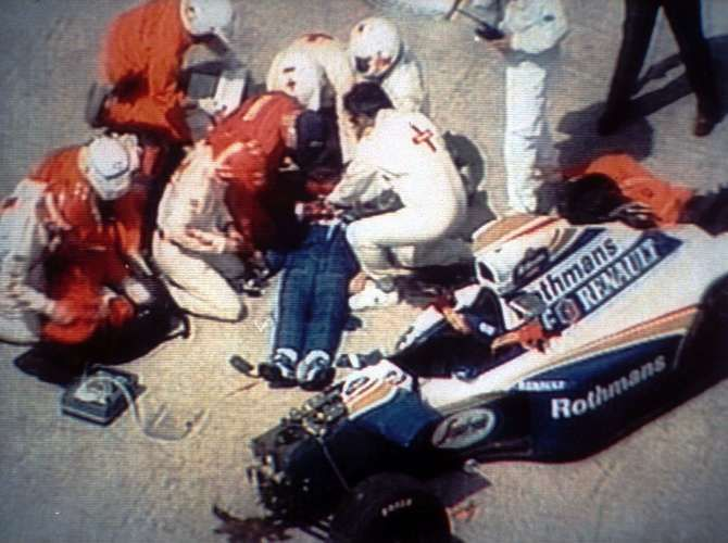 On May 1, 1994, he took part in his third race for the Williams-Renaut team, the San Marino GP. Senna would never finish the race. He went off the track in the Tamburello curve and did not survive the injuries caused by the head-on collision with a concrete wall. He was 34. His death was considered by many of his Brazilian fans to be a national tragedy. Senna is buried at the Morumbi cemetery in São Paulo, his hometown.