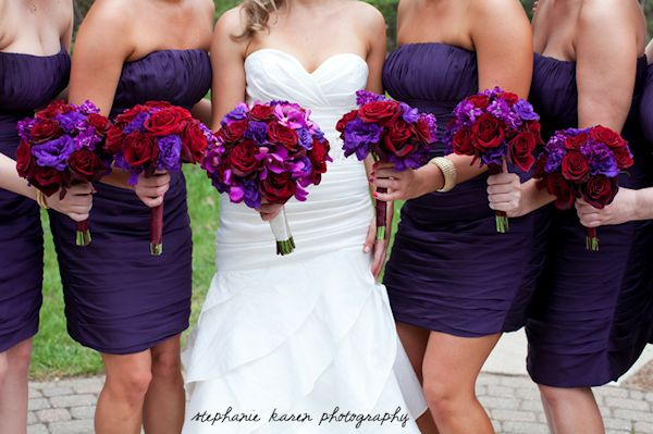 I'm thinking dresses in that shade with similar bouquet colors...: Ideas, Colors Combos, Weddings, Dresses, Bride And Bridesmaid, Purple Wedding Flowers, Purple Bouquets, Purple Red, Red Wedding