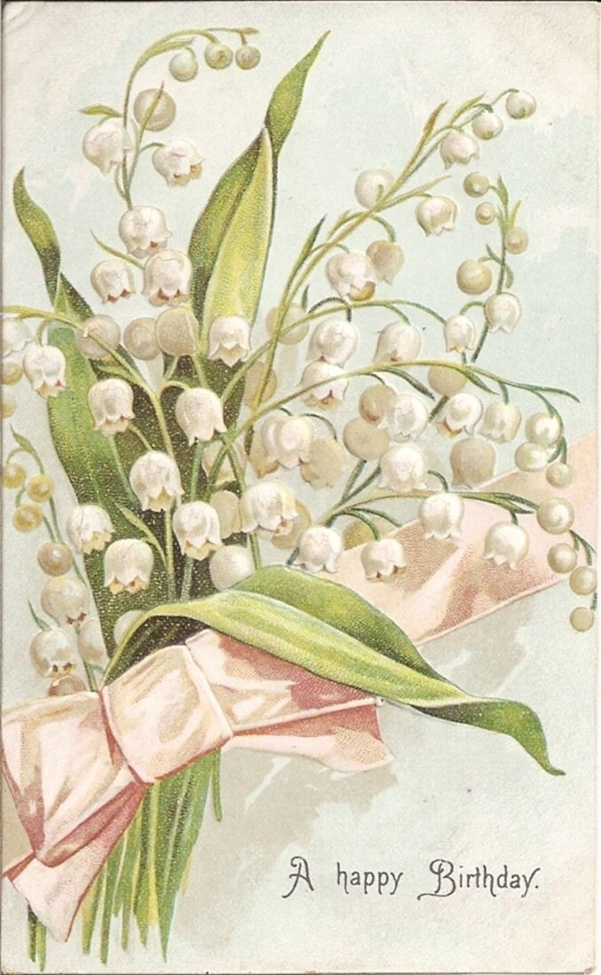 Bouquet of Beautiful Lily of The Valley on Old Birthday Postcard | eBay