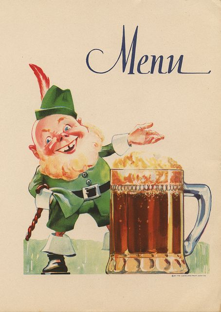 The cover of a vintage St. Patrick's Day menu. #vintage #holidays