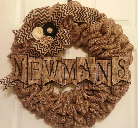 Burlap Wreath - Monogram Wreath - Chevron Wreath - Christmas Wreath - All Year Round Wreath - Last Name - Personalization - Pearls