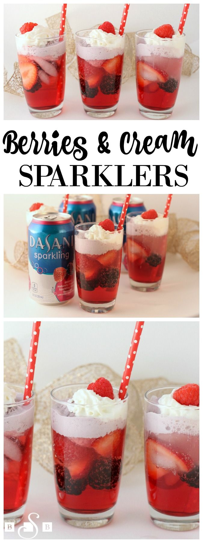 Berries & Cream Sparklers - Perfect recipe for a fun party drink. The kids would have so much fun with this and LOVE the whipped cream! #sparklingholidays AD