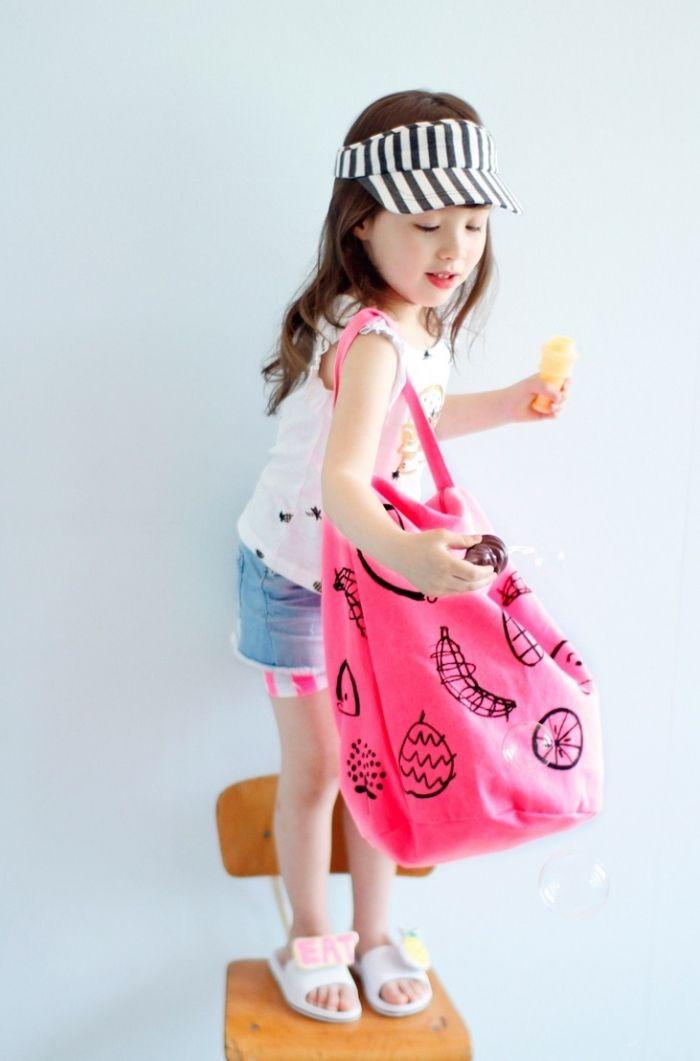 新作BienABienビンエイビン-AE-HEM-ドレドレエコバック (ネオンピンク) - 韓国子供服 BUBUOLUBU ブブオルブ