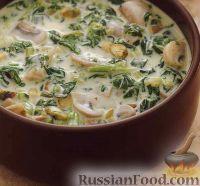Фото к рецепту: Сырный соус с грибами и шпинатом