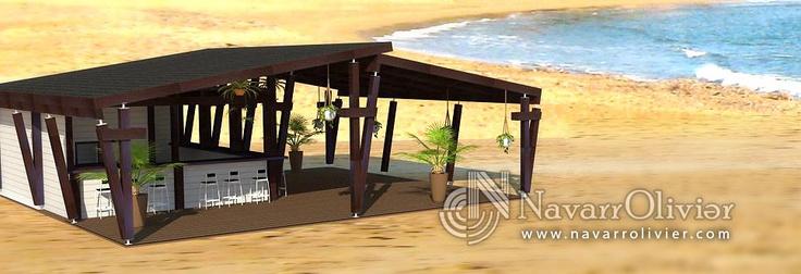 Infografía de proyecto para chiringuito de 100 m2 desmontable, en color blanco y wengue by navarrolivier.com #proyecto #infografia #navarrolivier #playa #boceto #beachbar