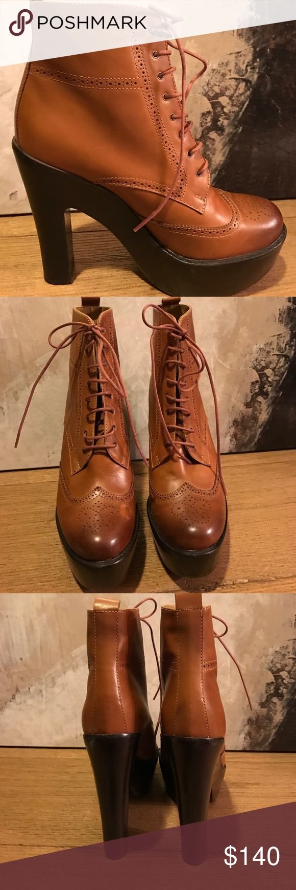 """New Ralph Lauren Platform boots size 41(11) New Polo Ralph Lauren Leather Platform boots. Menswear inspired leather oxfords. Stacked heel 6"""", Platform 2"""", cap toe.  Brown leather upper lace up front. Size 41 (11).  New (no box/tag). Ships same day Polo by Ralph Lauren Shoes Ankle Boots & Booties"""