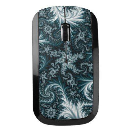 Cyan and white fractal pattern. wireless mouse - pattern sample design template diy cyo customize