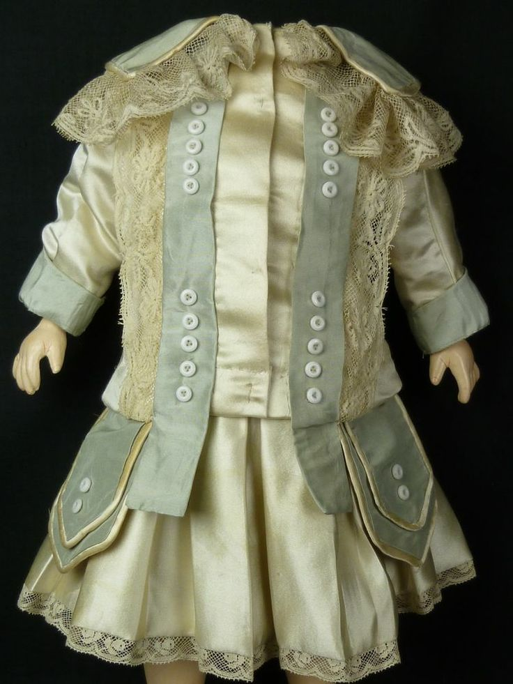 EXQUISITE COUTURIER FRENCH AQUA AND IVORY SILK ANTIQUE DOLLS DRESS