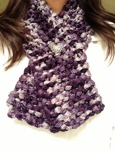 Valentine's scarf for Mom: Un-Ruffled Sashay Yarn with Silver heart button.