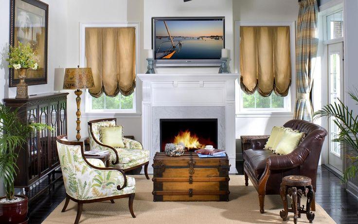 Интерьер, дизайн, стиль, комната, зал, гостиная, камин, диван, кресла, подушки, телевизор, цветы, обои, картинки, фото
