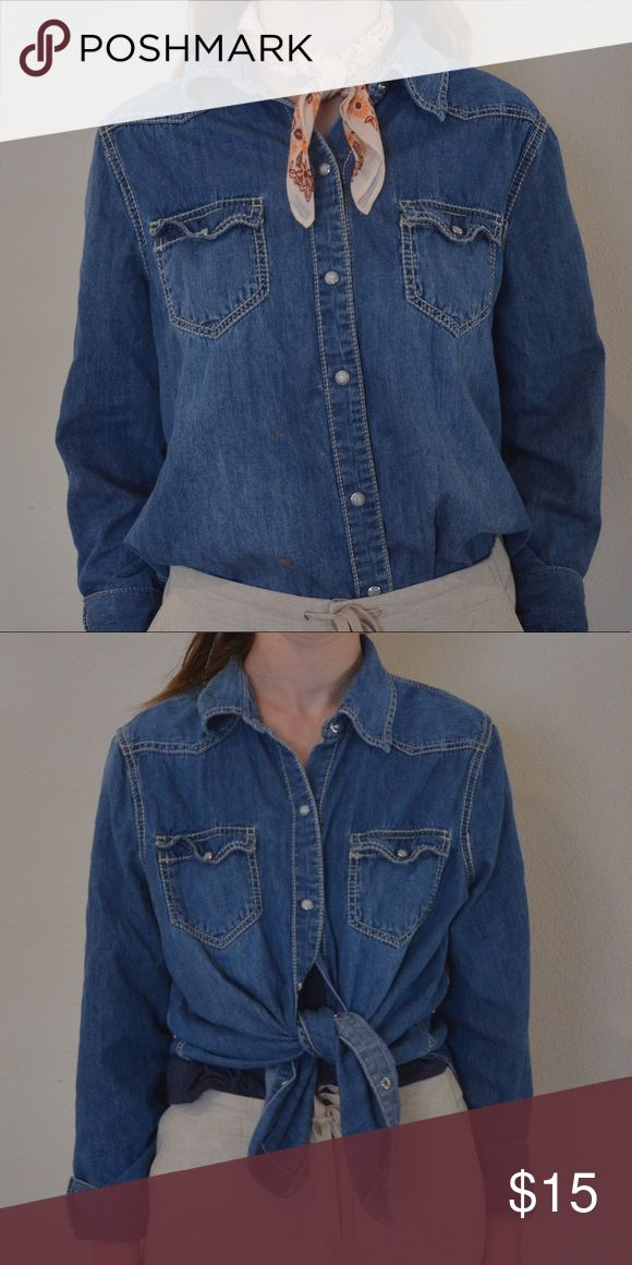 Seven 7 Jeans Chambray Button up Top Seven jeans chambray button up top for sale. Size XL - I'm normally a medium and  bought it a little loose intentionally. Looks great with the sleeves rolled and a scarf! Taking offers!! ❤️ high quality denim, soft and cozy. Seven7 Tops Button Down Shirts