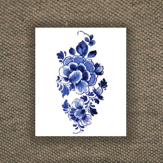 tatouage temporaire - boutique TATOORARY (Etsy) - motif floral d'inspiration hollandaise
