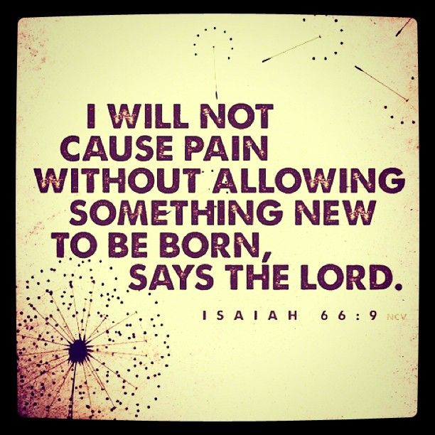 I will not cause pain without allowing something new to be born, says the Lord. Isaiah 66:9