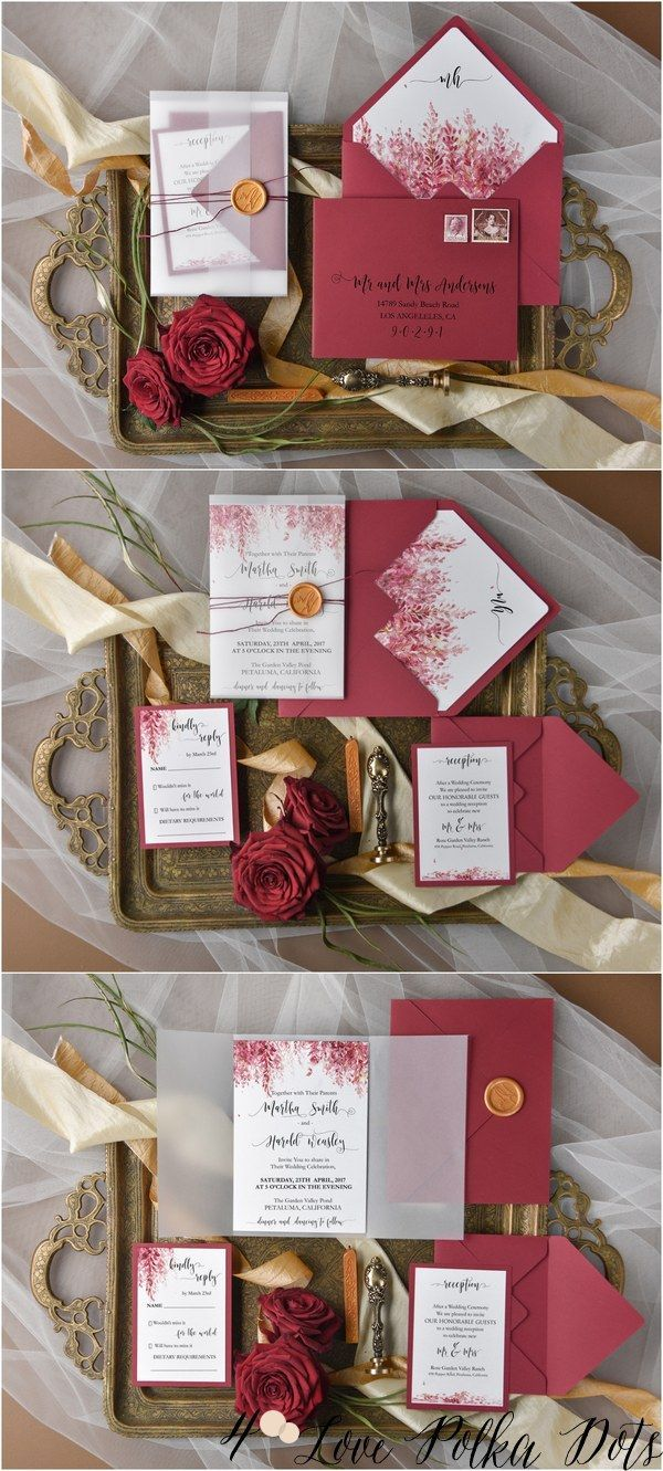 handmade wedding cards ireland%0A Burgundy deep red wedding invitation set from   LOVEPolkaDots