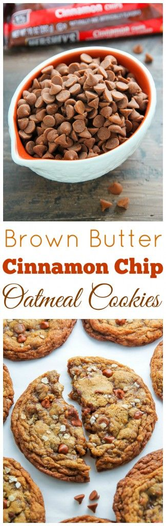 Brown Butter Cinnamon Chip Oatmeal Cookies are rich, sweet, and subtly spiced. Perfect with your morning coffee.
