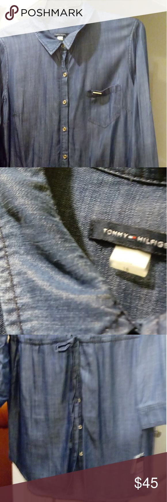 Tommy Hilfiger soft denim shirt dress Want a classy alternative for jeans day?  Front button up, tie waist, three front pockets and long sleeves that can be converted to mid length for a more casual look.  Machine wash cold and tumble dry medium.  NWT original tags and extra button attached. Tommy Hilfiger Dresses Long Sleeve