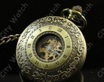 Steampunk Watch-Deluxe y valor bolsillo mecánico, cadena de reloj de bolsillo antiguo bronce, Árabe mecánica-victoriano-best father'sday regalo del reloj