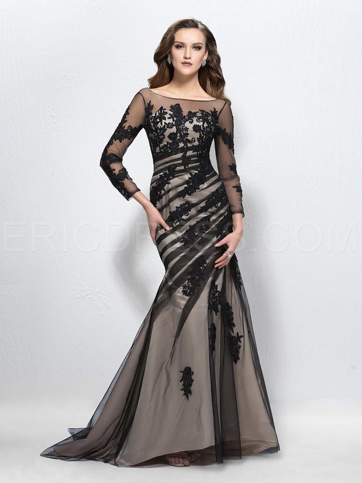 Luxurious Trumpet Scoop Long Sleeves Cocktail Dresses