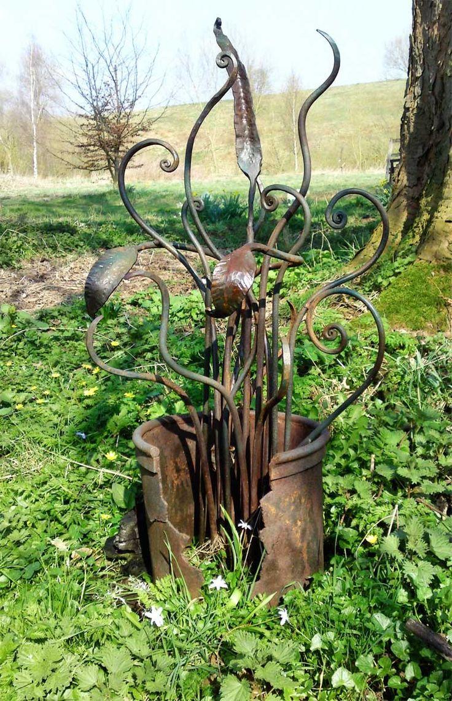 Poppy flower stake garden art poppy strong metal yard art flower - Sculpture And Garden Art Artistic Metal Furniture And Gates Garden Art Gallery