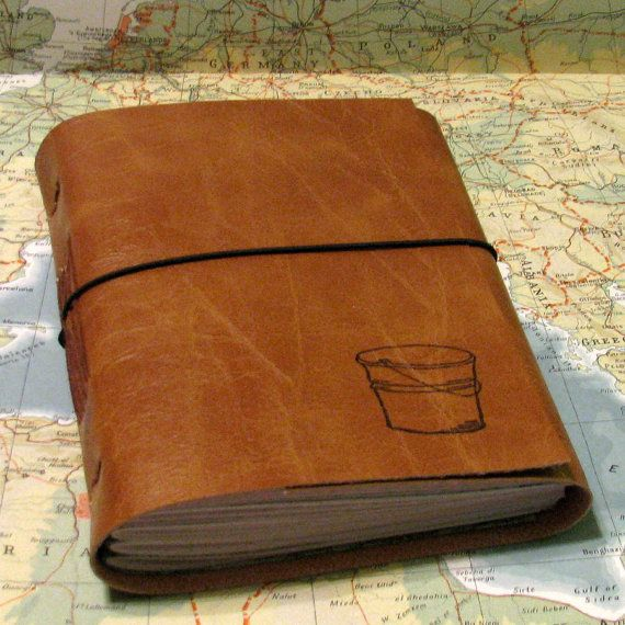 bucket list journal with maps in faux leather    Whats on your bucket list?  What do you want to do in this lifetime?  Where do you want to go?    Youre