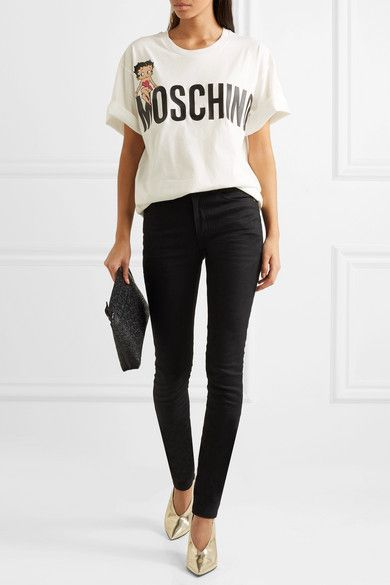 3f504c8251 Moschino - + Betty Boop oversized printed cotton-jersey T-shirt | Fashion  World | Inspiration & Shopping | Moschino shirt, Printed cotton, Moschino