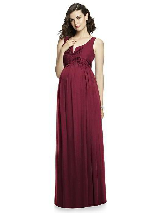 After Six Maternity Bridesmaid Dress M424 in Burgundy Gold. Dessy Group