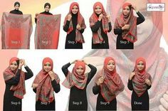 Square shawl Hijab Tutorial