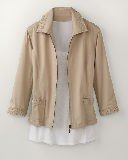Ruched trim zip jacket