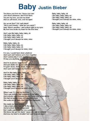 Justin Bieber Baby Lyrics Sheet | Printables From Books ...