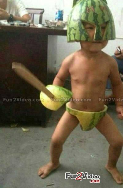 Gladiator Kid in Watermelon Suit Funny  [ More Funny Kids Pictures: http://www.fun2video.com/funny-baby-pictures/ ]