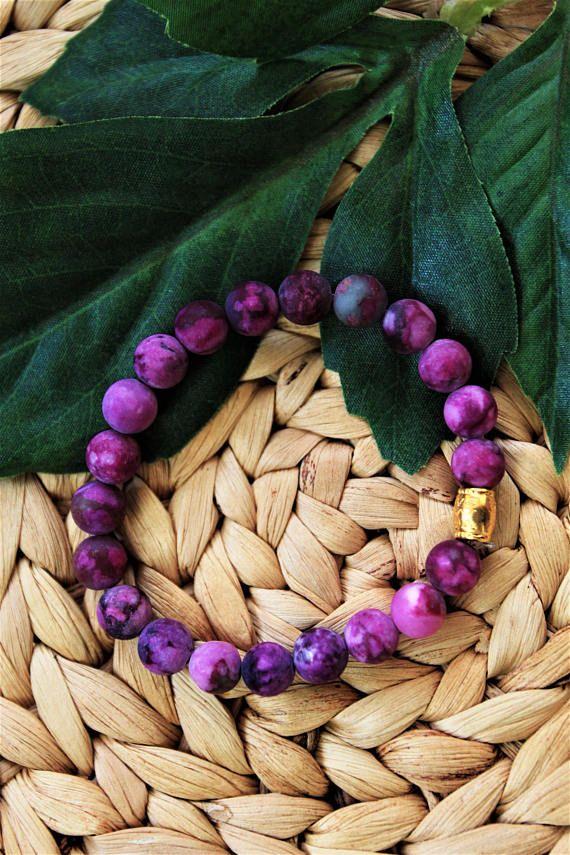 Matte Purple Amethyst Beaded Bracelet  Womens Gemstone